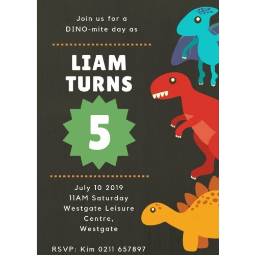 Kids Dinosaur Party Invite Magnet